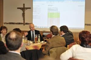 Konrad Heuwieser erklärt bei der Wahlparty die unterschiedlichen Auszählungsverfahren